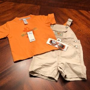 Gymboree boys overall set size 12/18 months NWT